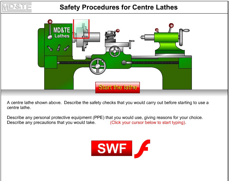 Centre lathe safety procedure