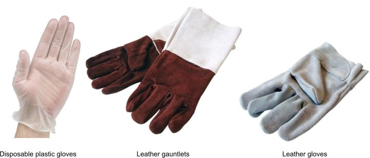 Leather gloves, disposable plastic gloves