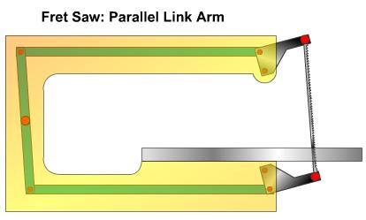 Fret saw parallel link arm linkage