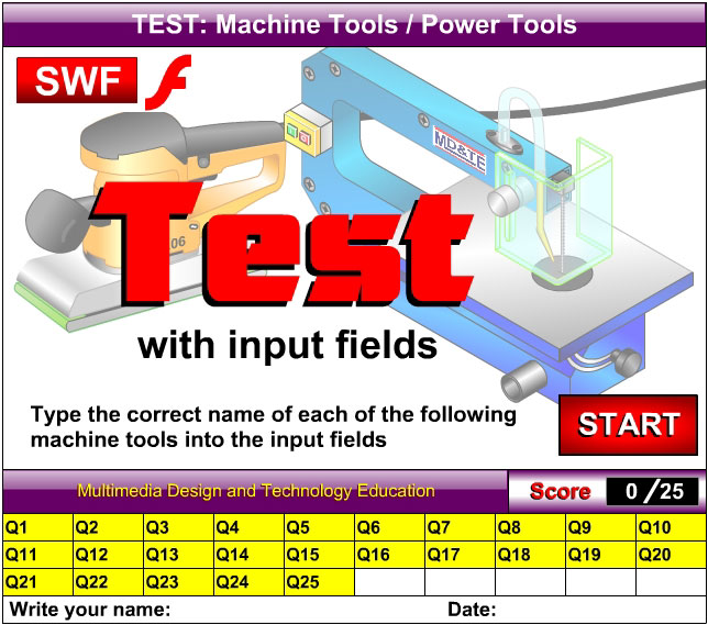 Machine tools test with input fields