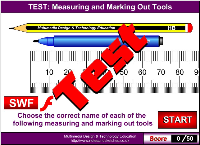 Measuring and marking out tools test