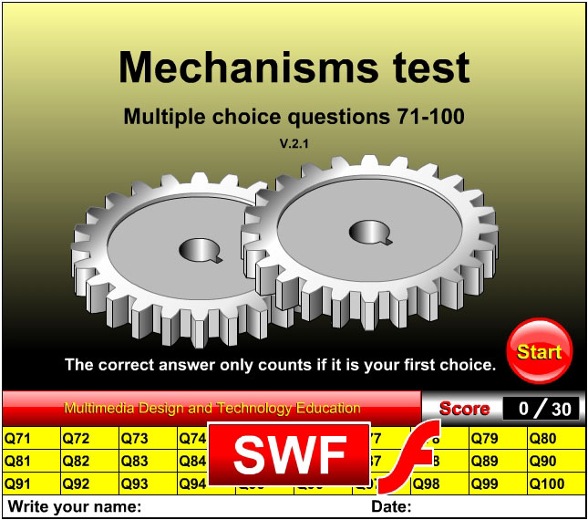 Mechanisms multiple choice test questions 71-100