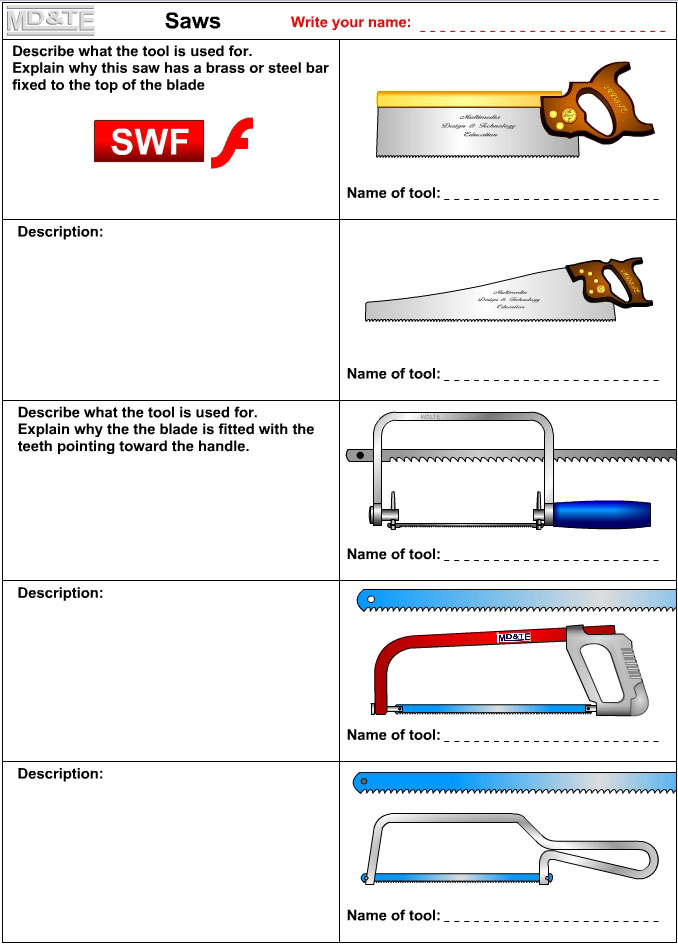 Saws worksheet
